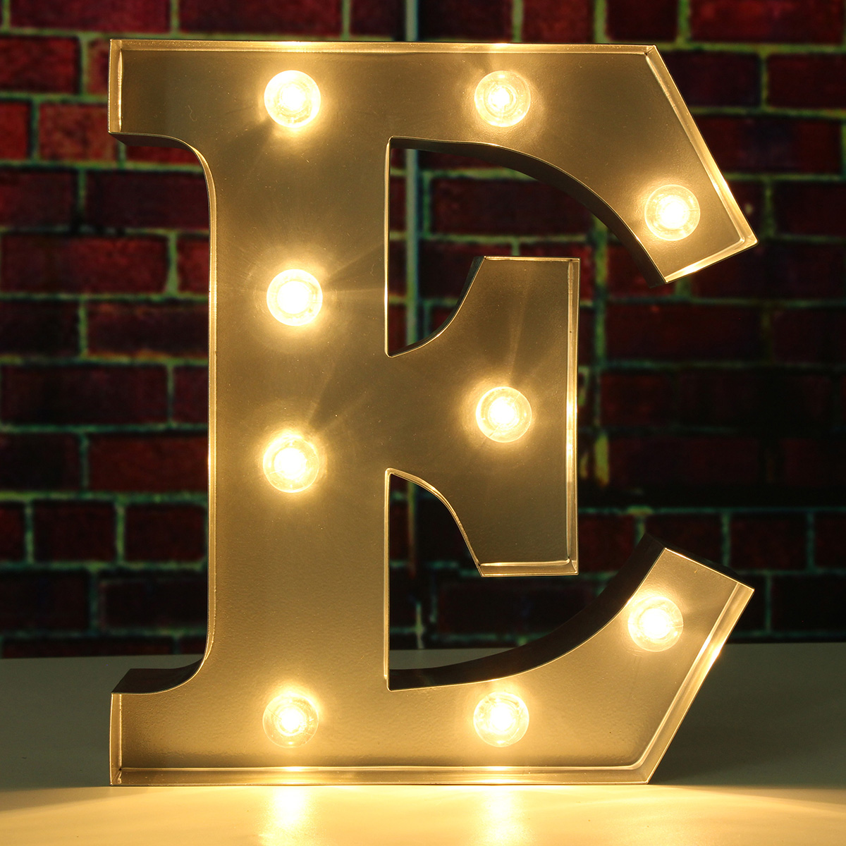 "1Pcs 9"" Metal Marquee Alphabet Letter Nightlight Lamp Romantic Wedding Birthday Party Home Decorations , E Alphabet"
