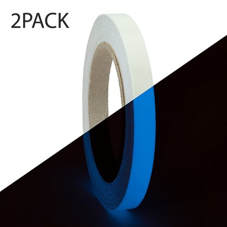 RED SHIELD Glow in The Dark Tape. Luminous, Fluorescent Self-Adhesive Sticker. Removable, Waterproof, Photoluminescent. for Decoration, Illuminating Objects at Night. [39.4 0.6 inches, Blue 2 PK] (Red Glow In The Dark)