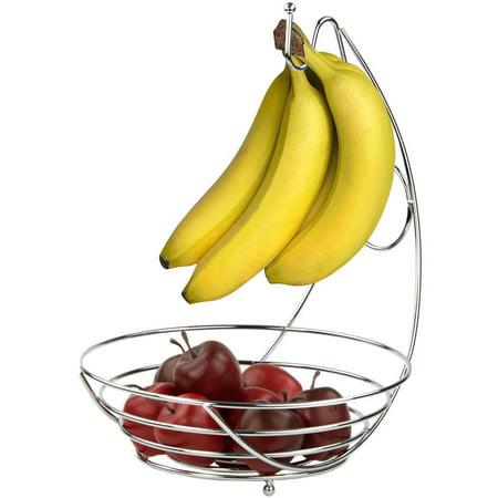 Home Basics Fruit Bowl with Banana Tree (Flower Bowl Silver)