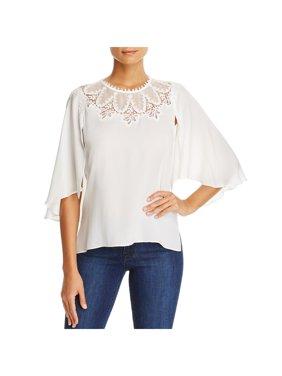 d8c7909a16f59 Product Image Kobi Halperin Womens Mavis Chiffon Lace Trim Pullover Top