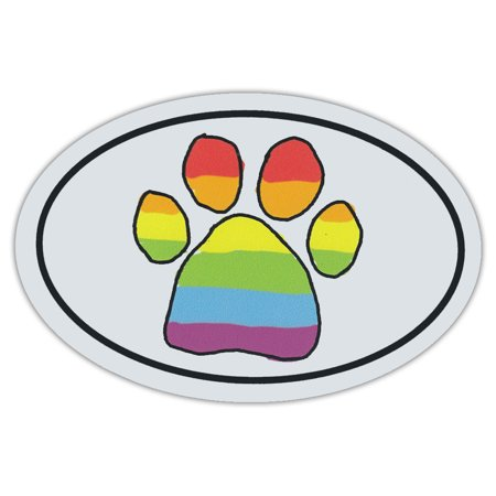 Oval Shaped Pet Magnets: Rainbow Scribble Paw (Dogs, Cats, LGBT) | Cars, Trucks ()