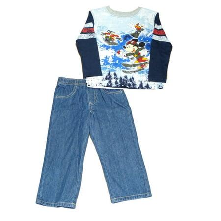 Disney Mickey Mouse Skiing Toddler Boys Blue Longsleeve Shirt u0026 Jeans Set - Walmart.com