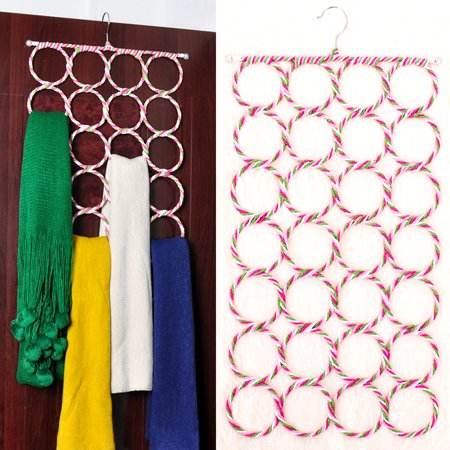 Scarf Tie Hanger - Foldable 28 Circles / Ring Slots Space Saving Holder Organizer Storage For Socks Scarves Rack Belt Mufflers and Shawl Accessory Door Closet Organization (Foam Door Hangers)