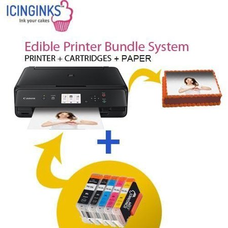 Canon Edible Printer Bundle Comes with Set Of Edible Cartridges and 50 Wafer Sheets,Canon Pixma TS6120 (Wireless+Scanner), Best Edible Image Printer, Edible Printer For