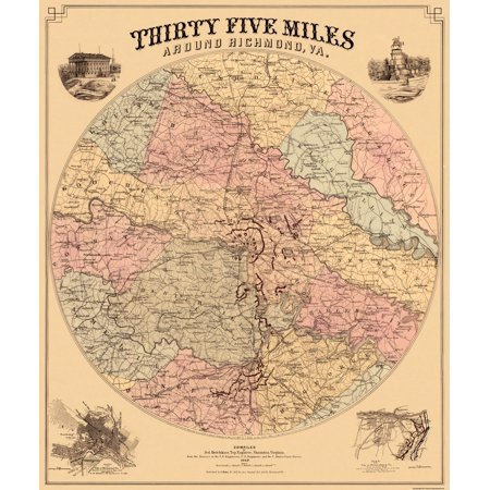 Old City Map Richmond Virginia 35 Miles Around 1867 23 X 27 44