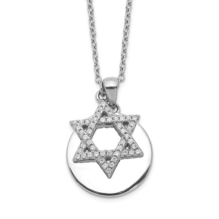 Solid 925 Sterling Silver CZ Cubic Zirconia Star of David Lucky Jewish and Disc 2in Extension Pendant Necklace Charm Chain -  AA Jewels
