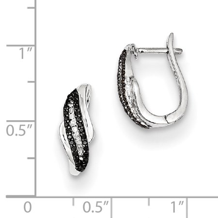 48465c692 925 Sterling Silver Rhod Plated Black White Diamond Post Stud Hoop Earrings  Ear Hoops Set Drop Dangle Fine Jewelry Gifts For Women For Her mothers day  gifts ...