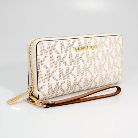 Michael Kors Vanilla/Acorn Jet Set Travel Continental Wristlet Wallet