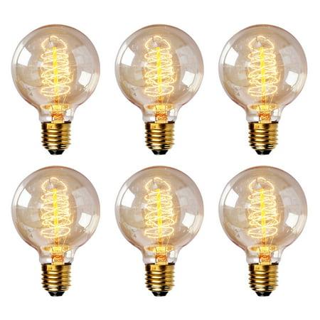 Isunmoon 40 Watt Edison Style Light Bulb 6 Pack Antique Vintage Reproduction Clear Gl Spiral Filament