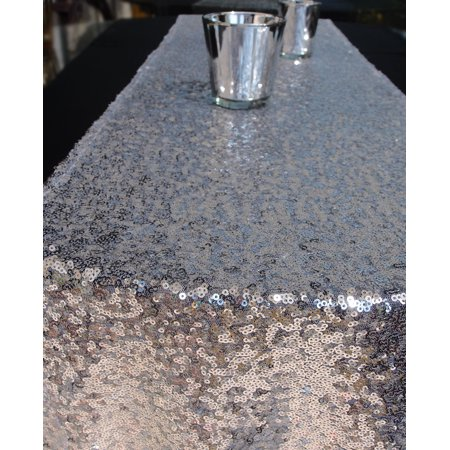 Quasimoon Sequin Table Runner - Solid Silver by - Silver Sequin Table Runner