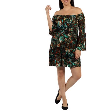 24/7 Comfort Apparel Women's Plus Peacock Party Dress with Drop Waist Style