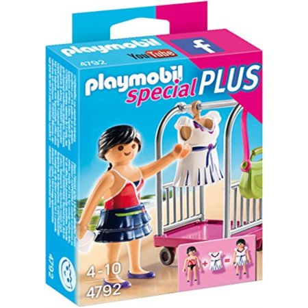playmobil model with clothing rack check out the latest fashions with the model with clothing rack. play with this set on its own or combine it with any other playmobil set. set includes one figure, interchangeable dress and skirt, purses, clothes hanger, and clothing rack. recommended for ages four to ten.SKU:ADIB00O4E24GQ