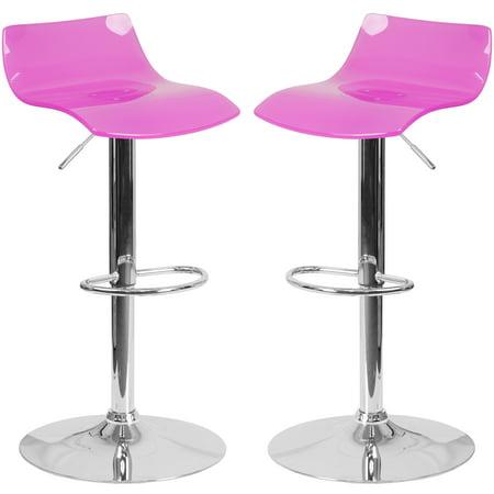 A Line Furniture Lotos Hot Pink Transparent Acrylic/Chrome Adjustable Swivel Barstool