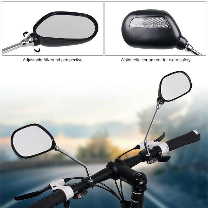 1 Pair Bicycle Handlebar Mirrors with Loop Strap Adjustable Flat Rearview