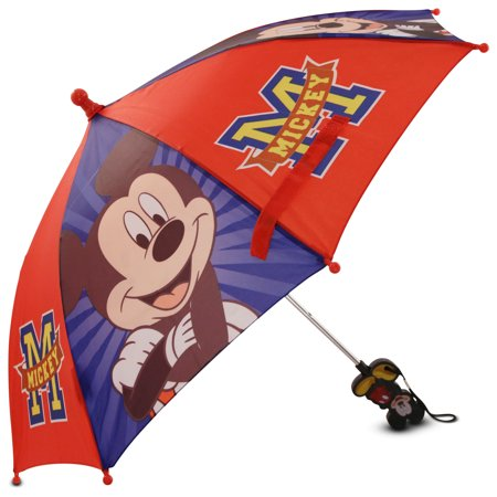 Disney Little Boys Mickey Mouse Umbrella With Character Handle  Age 2 7