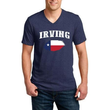 Irving Texas Men V-Neck Shirts Ringspun - Halloween City Irving Texas