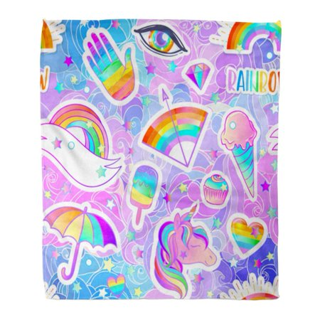 ASHLEIGH Flannel Throw Blanket Colorful Rainbow Pattern Candies Sweets Ice Cream Unicorn Umbrella Hand Pins Patches Halloween 58x80 Inch Lightweight Cozy Plush Fluffy Warm Fuzzy - Drinks With Dry Ice For Halloween