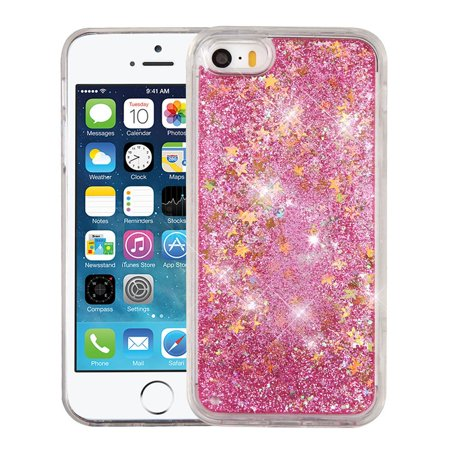 pretty nice a0dad f904b iPhone SE Case, iPhone 5S Case, by Insten Quicksand Glitter Hybrid Hard  PC/TPU Case Cover For Apple iPhone SE / 5 / 5S - Stars Pink