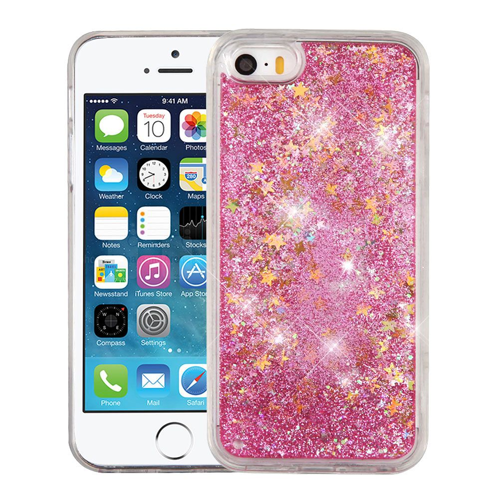 iPhone SE Case, iPhone 5S Case, by Insten Quicksand Glitter Hybrid Hard PC/TPU Case Cover For Apple iPhone SE / 5 / 5S - Stars Pink