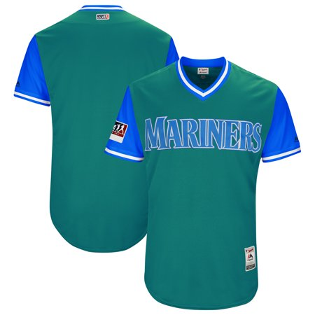- Seattle Mariners Majestic 2018 Players' Weekend Authentic Team Jersey - Aqua/Light Blue