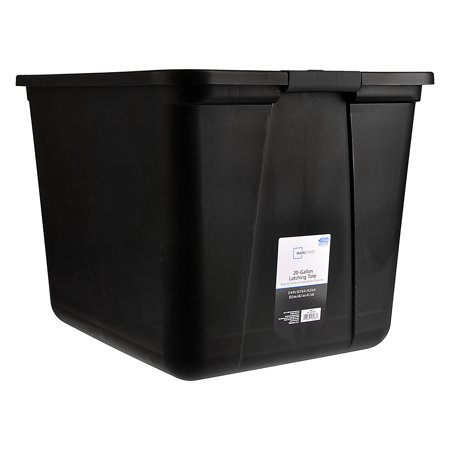 Mainstays 20 Gallon Latching Storage Container, Black Base and Lid, Set of 2 ()