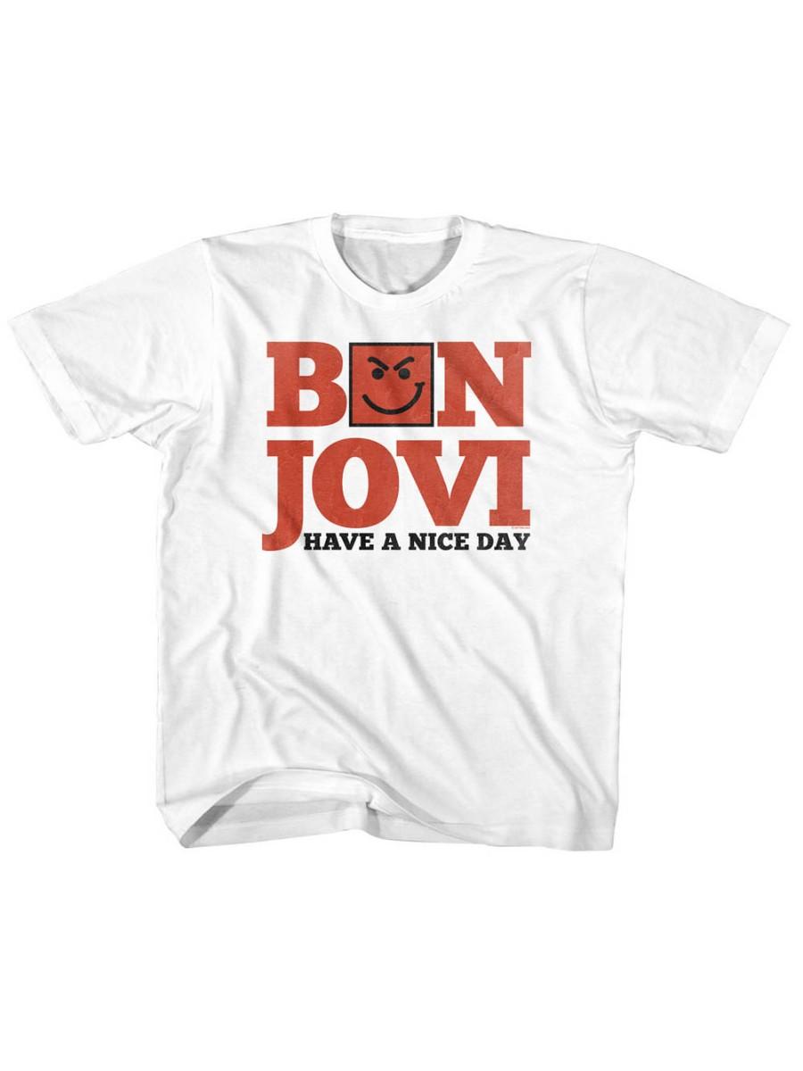 Bon Jovi Rock Band Have A Nice Day White Toddler Little Boys T-Shirt Tee