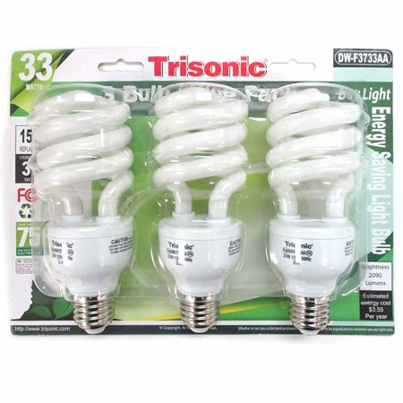 3 Pc Daylight Light Bulb Energy 150 Watts White Compact Fluorescent 2090 Lumens Pc White Hid Floodlight