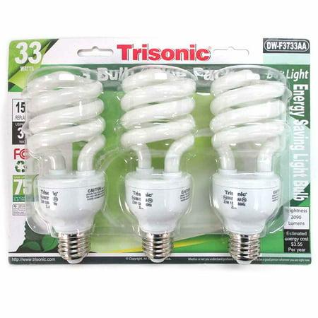 3 Pc Daylight Light Bulb Energy 150 Watts White Compact Fluorescent 2090 Lumens Daylight Compact Fluorescent Light Bulb