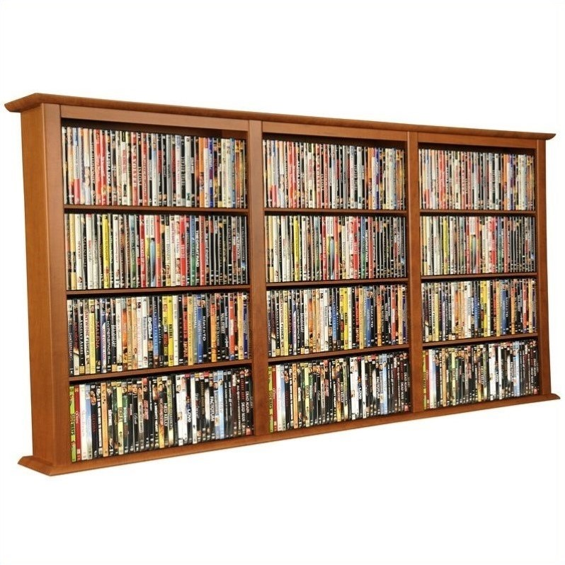 Venture Horizon Triple Wall Mount Media Rack in Cherry