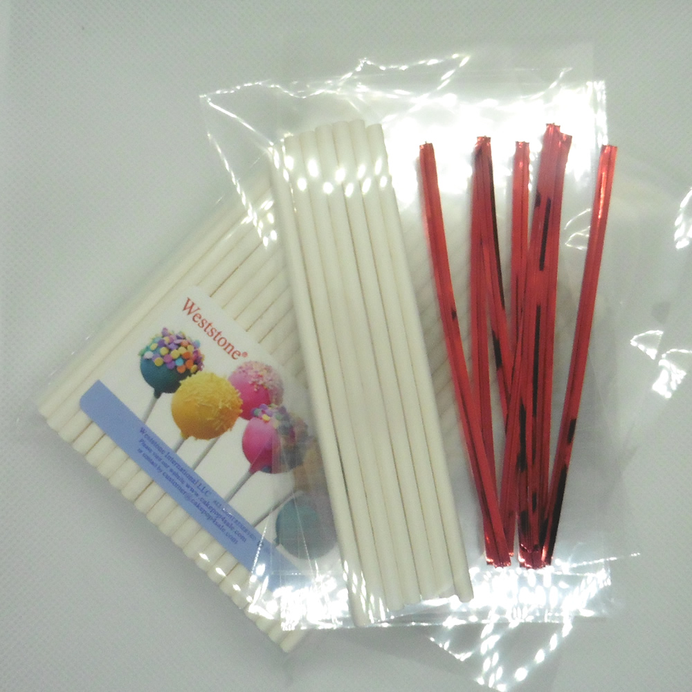 """Weststone - 100pcs 4 1/2"""" Lollipop Sticks + 100 Poly Bags + 100 Bright Gold Twist Ties for Cake Pops"""