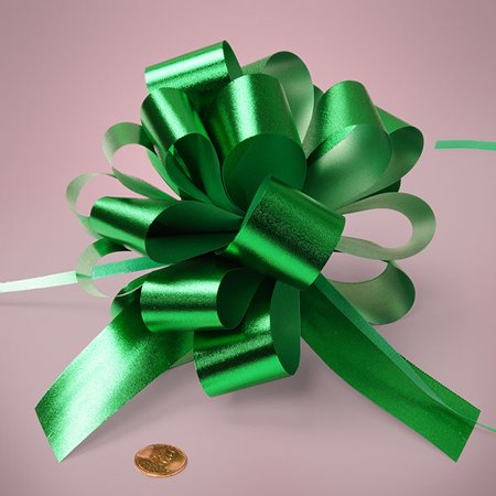 Emerald Green Embossed Metallic Large 5 inch Shiney Deluxe Gift Decorative Pull Bows, 10 pack - Emerald Green Metallic