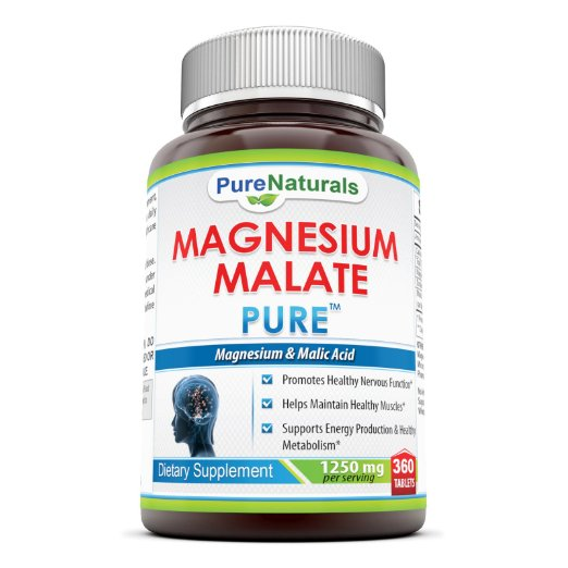 Pure Naturals Magnesium Malate- 1250 mg Per Serving, 360 Tablets