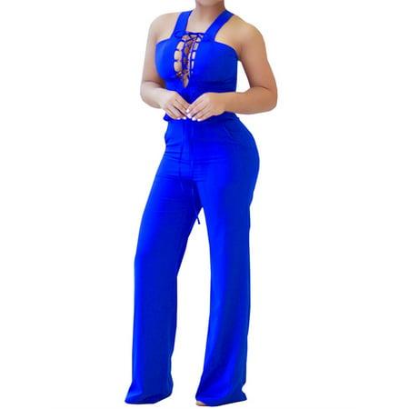Halter Women Lace-up Skinny Sleeveeless Jumpsuit Sexy Bodysuit