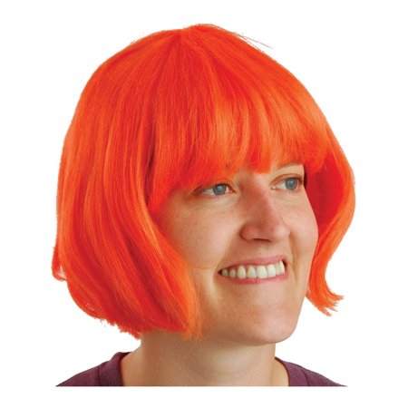 Adult Orange Short Waive Curl Mod Bob Bangs Costume - Bang On Nyc Halloween Party