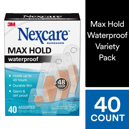 Nexcare Max Hold Waterproof Bandages, Made by 3M, Assorted Sizes, 40 Count Value Pack