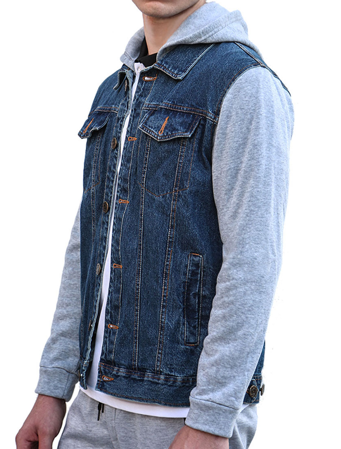 Unique Bargains Men S Single Breasted Removable Hood Long Sleeves