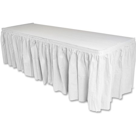 Genuine Joe Nonwoven Table Skirt, 14 ft Length, GJO11915](Ruffled Table Skirt)