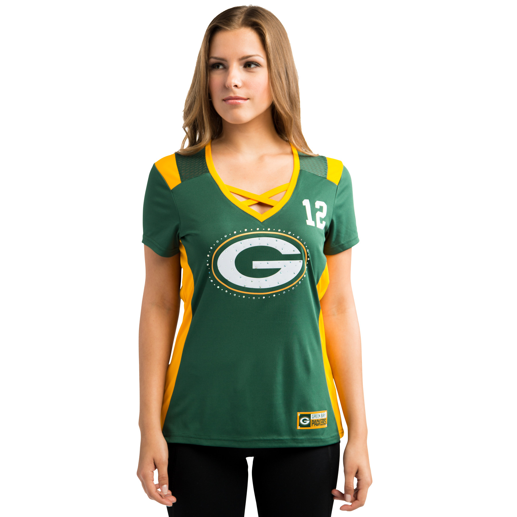 Majestic Green Bay Packers Aaron Rodgers #12 Draft Him 2016 Women's Shirt, Large