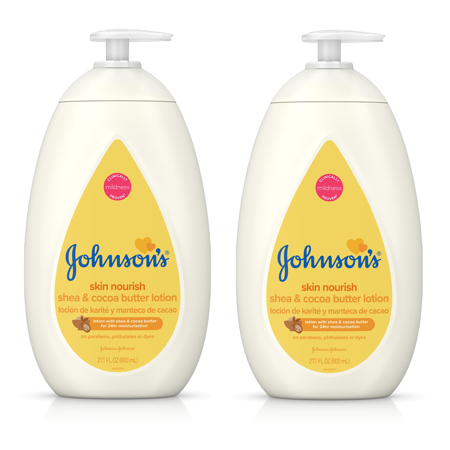 (2 pack) Johnson's Dry Skin Baby Lotion with Shea & Cocoa Butter, 27.1 fl.