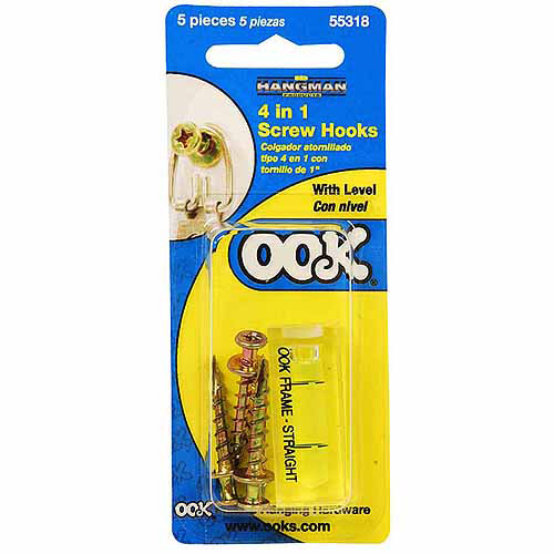 Hillman Group Inc-Ook 55318 100# 4 In 1 Screw Hooks With Leveler Picture Hanger 8 Piece