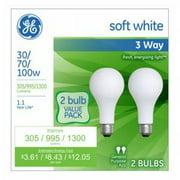 GE soft white 3-way 30/70/100 watt Incandescent A21 2-pack