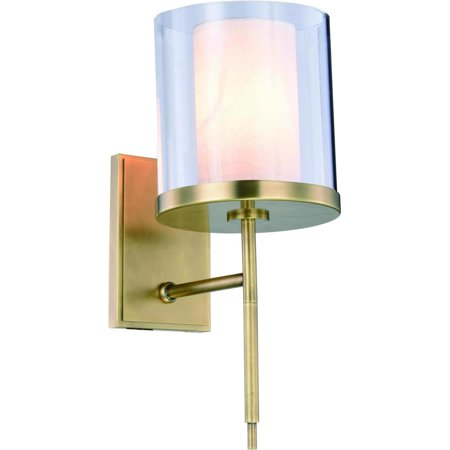Wall Sconce BRADFORD French 1-Light Burnished Brass Polished Nickel Glas EL-5267