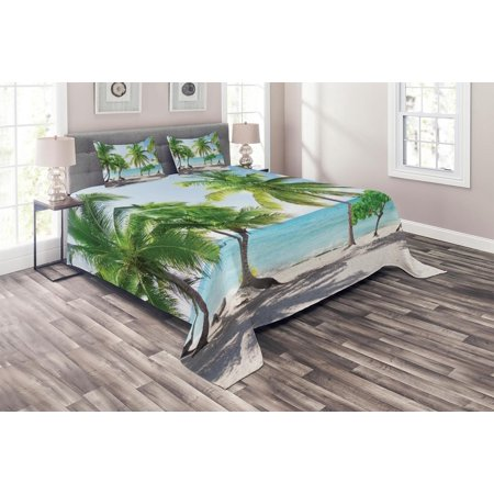 Catalina Island Bedding (Beach Coverlet Set, Palm Leaves in Catalina Island Dominic Seashore Coastal Panoramic Picture, Decorative Quilted Bedspread Set with Pillow Shams Included, Green Aqua Coconut, by Ambesonne)