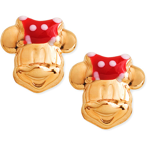 Disney's Minnie Mouse Earrings with Enamel Bows in 14K Yellow Gold