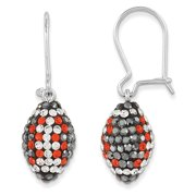 Sterling Silver Swarovski Elements Football Earrings 0.57grams (L 35mm W 10mm)Polished | Sterling silver | Kidney wire | Crystal from Swarovski