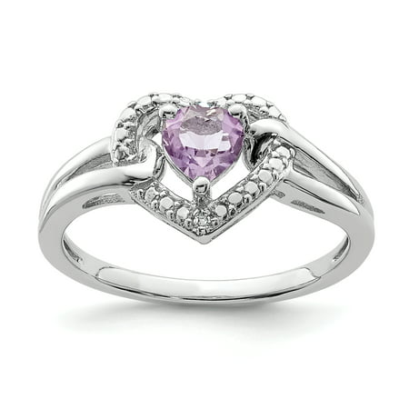 925 Sterling Silver Rhodium Pink Quartz and Diamond Ring - image 2 de 2