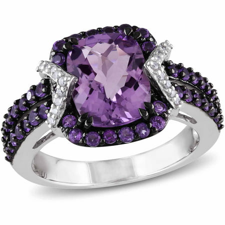 3-1/3 Carat T.G.W. Amethyst and Amethyst-Africa with 1/6 Carat T.W. Diamond Sterling Silver Halo Cocktail Ring Amethyst Aa Diamond Ring