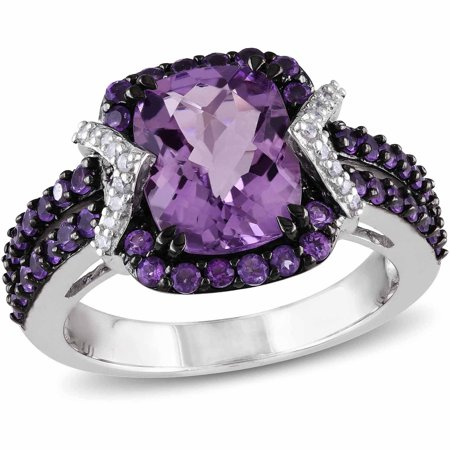 3-1/3 Carat T.G.W. Amethyst and Amethyst-Africa with 1/6 Carat T.W. Diamond Sterling Silver Halo Cocktail Ring