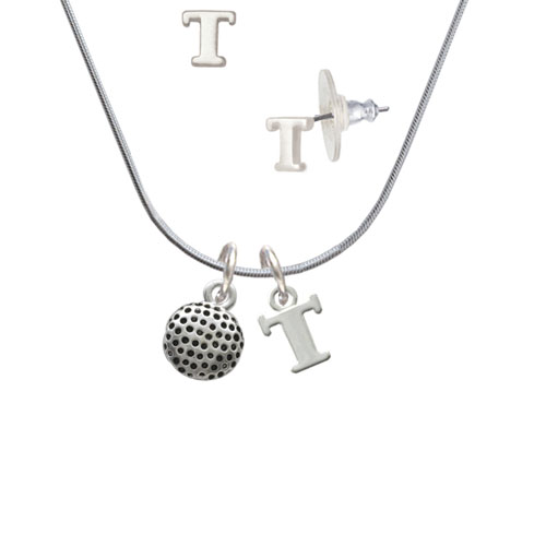 Golf Ball T Initial Charm Necklace and Stud Earrings Jewelry Set by Delight and Co.