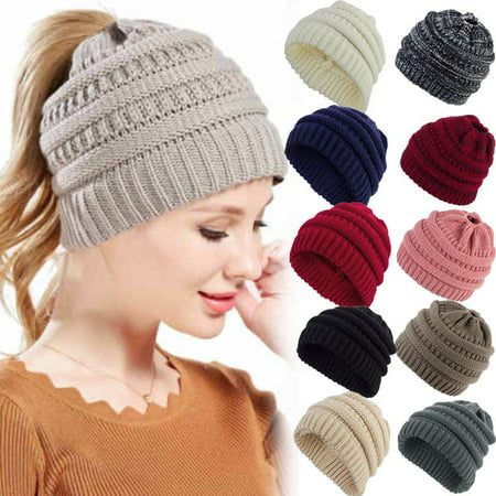 Women Beanietail Messy Bun Ponytail Knitted Beanie Skull Winter Hat - Minion Beanie Hat